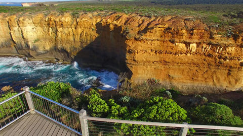 Aerial view of Great Ocean Road coastline from Razorback viewpoint Live Action