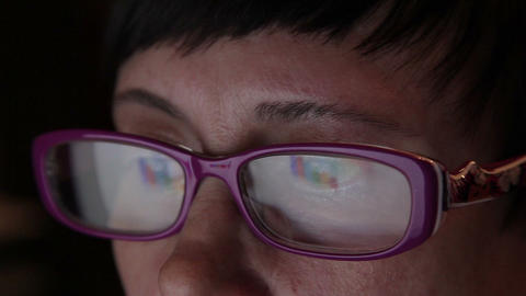 Business Woman With Computer Reflected In Glasses Tracking shot Footage