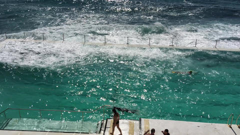SYDNEY - NOVEMBER 10, 2015: Bondi Pools on a sunny day. The pools are a famous a Live Action