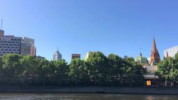 MELBOURNE - NOVEMBER 2015: City skyline over Yarra river. Melbourne attracts 10  Footage