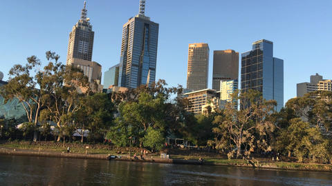 MELBOURNE - NOVEMBER 2015: City skyline over Yarra river. Melbourne attracts 10  Footage