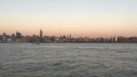 Manhattan Skyline from Jersey City at dusk Footage