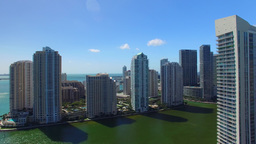 Aerial view of Downtown Miami and Brickell buildings on a sunny day Footage