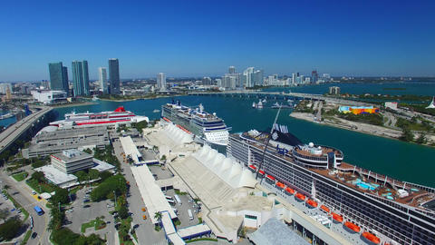 MIAMI – FEBRUARY 2016: Cruise ships in the port. Miami is a major port of call Footage
