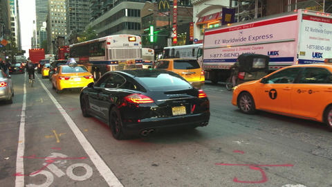NEW YORK CITY – OCTOBER 2015: Manhattan Traffic at Night. New York traffic is  Footage