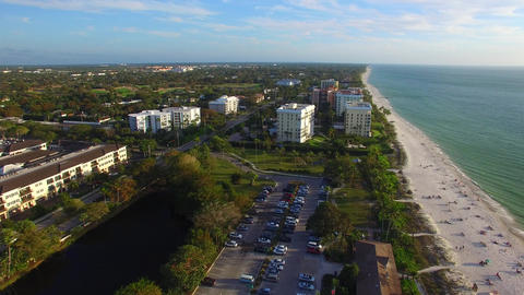 Aerial view of Naples beach and skyline on a beautiful day Footage