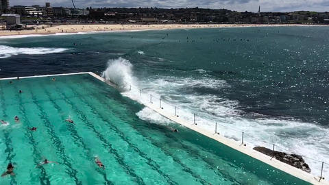 Pools above the ocean, slow motion Footage