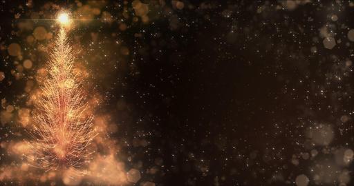 Animated Golden Christmas Fir Tree Star background bokeh snowfall 4k resolution Animation