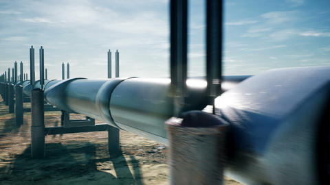 Pipeline transportation oil or natural gas. Realistic cinematic loopable Animation