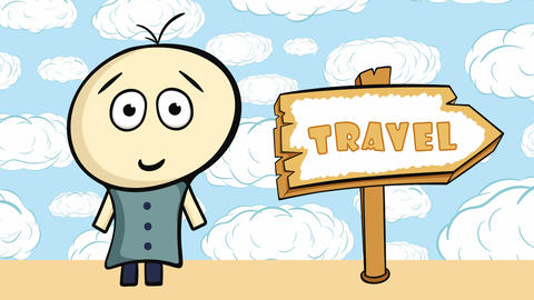 Character and travel in clouds Animation