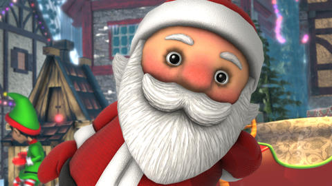 Close up of a cute Santa dancing salsa in a Christmas village. Seamless funny Animation