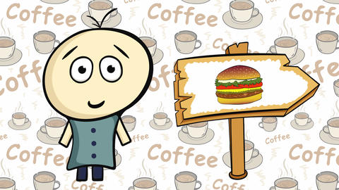 Character on coffee and cheeseburgersign Animation