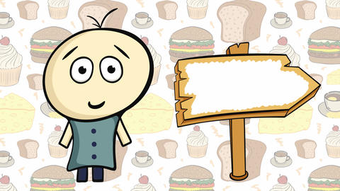 Character on food and empty sign Animation