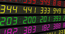 Stock Market Tickers. Blue-Orange and Red-Green. Digital animation of Stock Footage