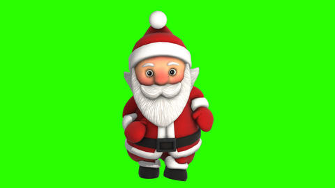 Cute Santa dancing salsa isolated on green screen. Seamless funny Christmas Animation