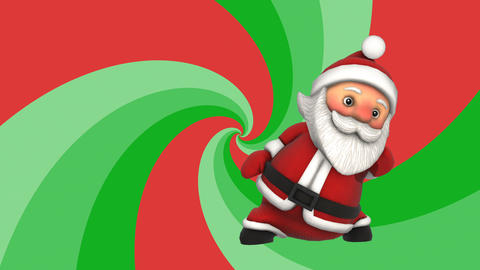 Cute Santa dancing salsa with a spiral retro background. Seamless funny Animation