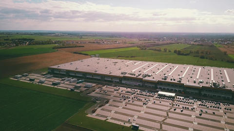 POZNAN, POLAND - OCTOBER 20, 2018. Aerial view of Amazon Fulfillment warehouse Live Action