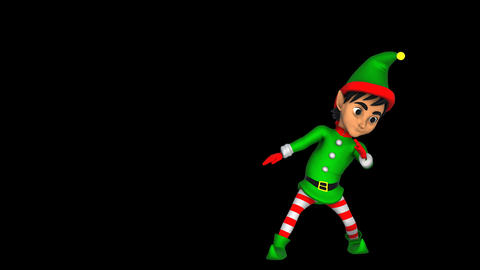 Cute Elf dancing salsa isolated with alpha channel. Seamless funny Christmas Animation