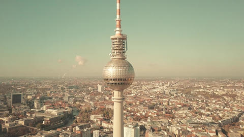 BERLIN, GERMANY - OCTOBER 21, 2018. aerial shot of famous TV Tower and cityscape Footage