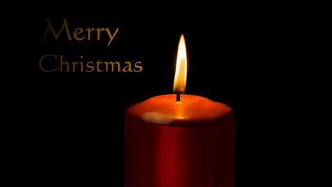 Burning red candle isolated on black background and animated title Merry Animation