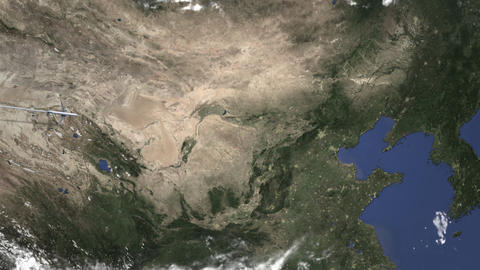Airliner flying to Beijing, China from west on the map. Intro 3D animation Footage