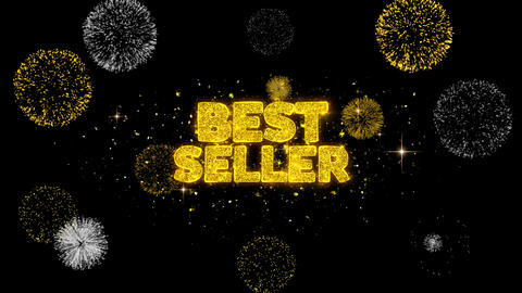 Best Seller Golden Text Blinking Particles with Golden Fireworks Display Footage