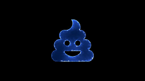 Symbol poo. Blue Electric Glow Storm. looped video. Alpha channel black Animation