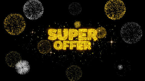 Super Offer Golden Text Blinking Particles with Golden Fireworks Display Footage