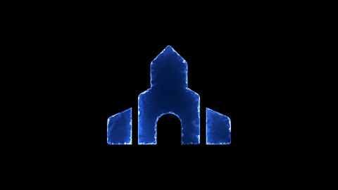 Symbol place of worship. Blue Electric Glow Storm. looped video. Alpha channel Animation