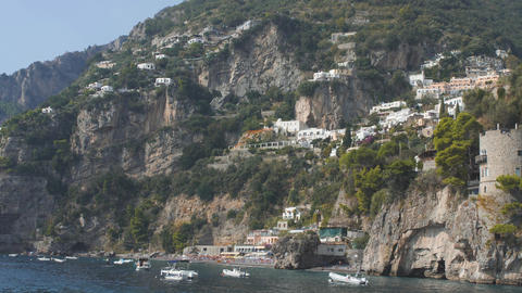 White mediterranean villages on slopes ща mountain. View from sea. Lots of Archivo