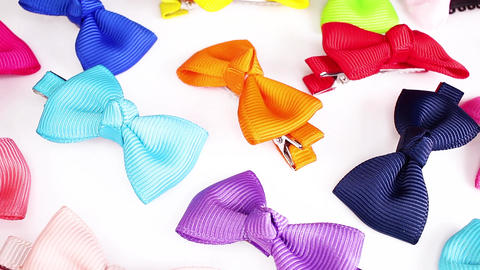Bow bows hair clip clips cute accessories colorful rainbow looping texture Footage