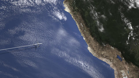 Airliner flying to Lima, Peru from west on the map. Intro 3D animation Footage