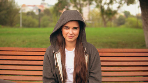 portrait caucasian happy girl outdoors Live Action