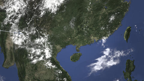 Airliner flying to Shenzhen, China from west on the map. Intro 3D animation Footage