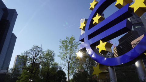 Symbol of Euro Sign Sculpture in Frankfurt, Germany Footage