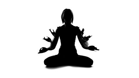 Woman joining hands in namaste gesture, spiritual unity of body and soul, peace Live Action