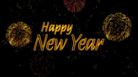Happy New Year Greeting text with particles, colored fireworks, sparks and stars Animación