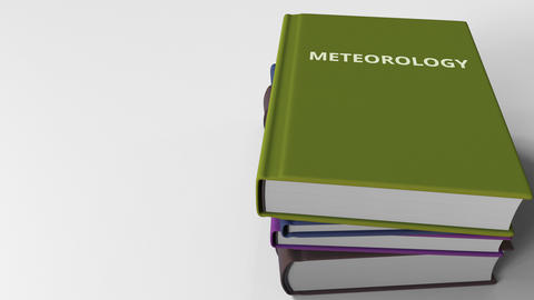 Book cover with METEOROLOGY title. 3D animation Live Action