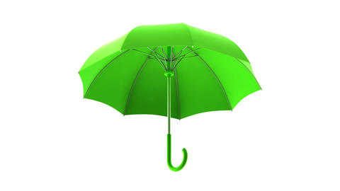 Classic green umbrella seamless looping 3D animation with alpha matte ビデオ