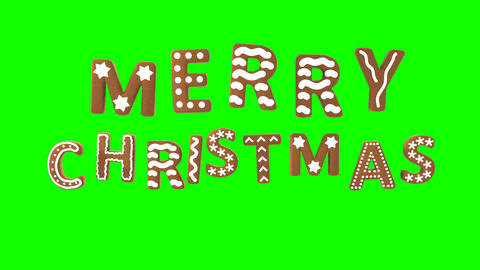 Animation of gingerbread letters isolated with green screen. Merry Christmas Animation