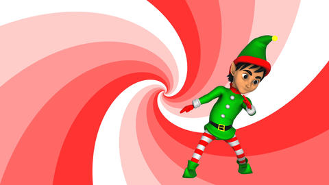 Cute elf dancing salsa with a spiral retro background. Seamless funny Christmas Animation
