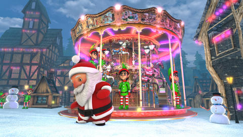 Cute Santa dancing salsa in a Christmas village with a carrousel in the Animation