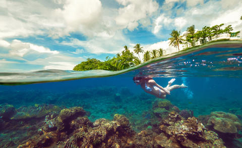Split underwater photo of a girl snorkeling with mask in tropical ocean enjoying Photo