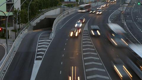 Traffic scene at dusk. Long Exposure.Time Lapse Footage