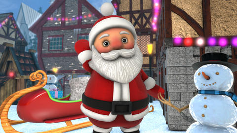 Cute Santa waving hello in a Christmas village with the sleightl in the Animation