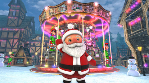 Cute Santa waving hello in a Christmas village with a carrousel in the Animation