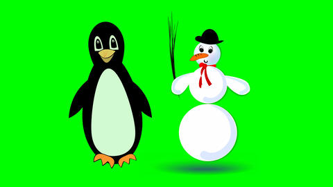 jumping snowman and cute walking penguin, two cute cartoon characters on green GIF