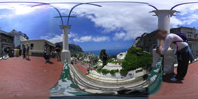 360 vr video of tourists in world famous Piazzetta in Capri island. Campania, It VR 360° Video