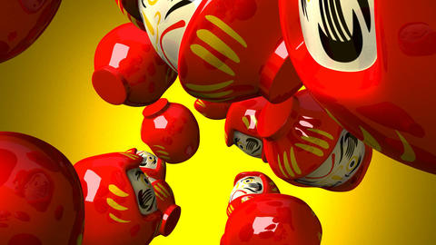 Red daruma dolls on yellow background Animation