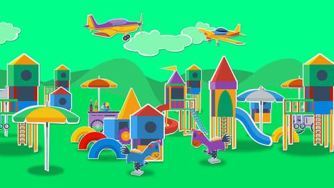 Playground with airplanes Animation